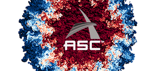 ASC logo overlaid on a red, white, and blue hydrodynamics simulation