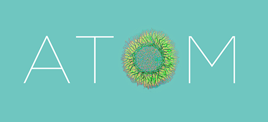 ATOM text with the O depicted as a teal simulation