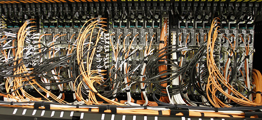 Wires inside the Sierra supercomputer