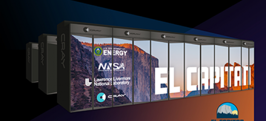 artist's rendering of supercomputer with El Capitan logo