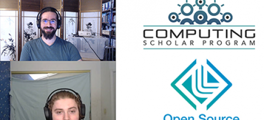 two people on video chat alongside Comp Scholars and OSS logos