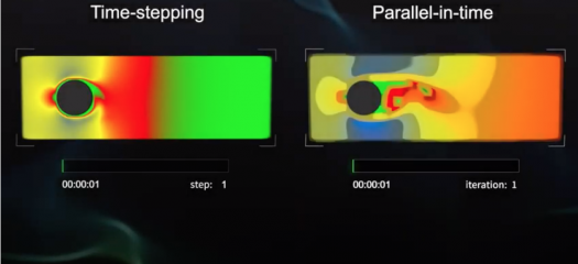 screen shot of the video showing two simulations side by side