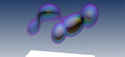 screen shot of the video showing a 3D visualization of multiple data points