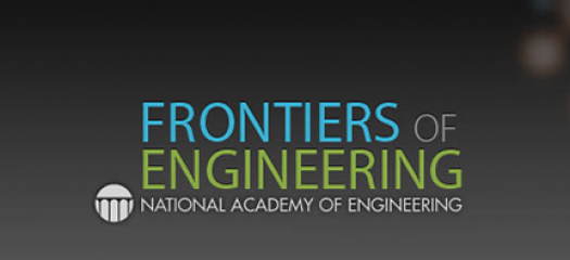 Frontiers of Engineering logo overlaid on abstract art