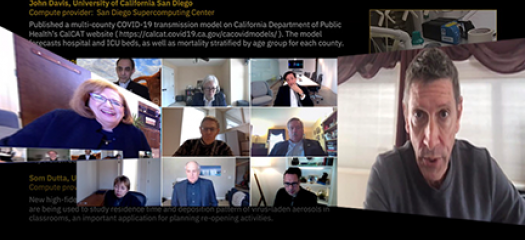 collage of speakers in video chat windows