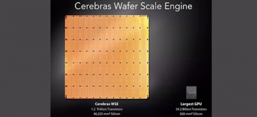 side-by-side comparison of Cerebras wafer next to a GPU