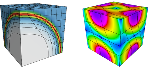 two simulations in the shape of cubes showing meshes