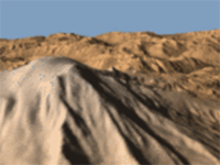 simulated mountainous terrain