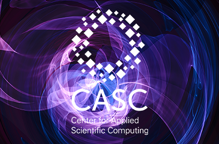 CASC logo overlaid on abstract graphic of purple and blue shapes